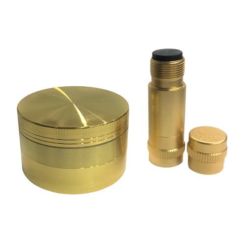 Triturador + Pólen Press de Metal Dourado